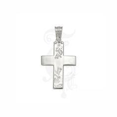Ένας ιδιαίτερος σταυρός γυναικείος ή βαπτιστικός του οίκου ΤΡΙΑΝΤΟΣ από λευκόχρυσο Κ14 με ζιργκόν και λεπτά κλαδιά στο επάνω & κάτω μέρος του σταυρού #τριαντος #γυναικειος #βαφτιση #λευκοχρυσο #σταυρος