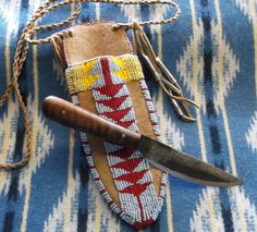 Mountain Man Curly Maple Roach Belly Patch Knife with Native Americam Style Sheath by misstudy on Etsy