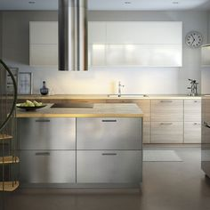 Faktum kitchen with abstrakt grey high gloss doors drawers and lansa stainles - Cuisine bois et inox ...