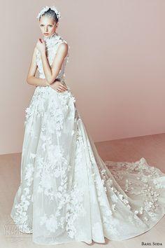 basil soda couture 2015 dress high neck sleeveless flora applique ballgown chapel train wedding gown