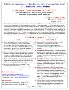IV Coloquio Internacional de la Mixteca    jueves 13 de septiembre, 2012
