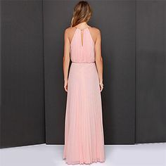 halter cor sólida maxi vestido de chiffon plissado das mulheres – BRL R$ 76,16
