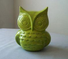 Green Ceramic Owl Decor