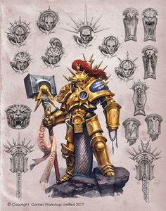"Paladin Retributor and Standard Liberator with some sketches for ""Order Battletome: Stormcast Eternals"". Copyright Games Workshop Limited 2017."