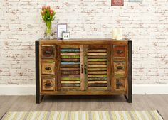 Urban Chic 6 Drawer Sideboard  is made using reclaimed wood salvaged from old buildings in places such as Gujarat, Maharashtra and Rajasthan Southern India. #Furniture #Kitchen #Dining #KitchenAndDining #PriceCrashFurniture #KitchenFurniture #DiningFurniture #Urban #Chic #Drawer #Sideboard http://pricecrashfurniture.co.uk/urban-chic-6-drawer-sideboard.html