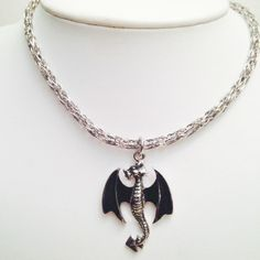 Flying dragon silver and pewter viking knit mens or unisex necklace by DonnaDStore on Etsy