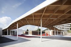 Image 1 of 13 from gallery of Extension of the Charlie Chaplin School Complex / SAM architecture. Photograph by Charly Broyez Backyard Canopy, Garden Canopy, Canopy Outdoor, Canopy Tent, House Canopy, Beach Canopy, Canopy Lights, Canopies, Window Canopy