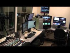 Take a tour of a high school video studio.  State of the art prior to mobile/cloud tools.