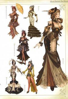 Des robes du (vieux) MMORPG Granado .#Steampunk: