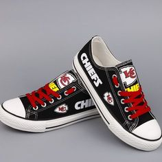 Stand out from the crowd with Kansas City Chiefs team spirit in these adorable Converse style sneakers that have handmade Kansas City Chiefs designs. Kansas City Chiefs Football, Kansas City Royals, Pittsburgh Steelers, Dallas Cowboys, Chiefs Game, Nfl Chiefs, Kc Cheifs, Chiefs Wallpaper, Chiefs Shirts