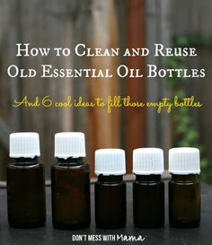 to Clean and Reuse Essential Oil Bottles How to clean and reuse old essential oil bottles and 6 cool ideas to fill those empty bottles!How to clean and reuse old essential oil bottles and 6 cool ideas to fill those empty bottles! Essential Oil Bottles, Doterra Essential Oils, Natural Essential Oils, Essential Oil Blends, Natural Oils, Homemade Essential Oils, Yl Oils, Young Living Oils, Young Living Essential Oils