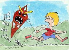ACEO TW Mar Original Killer Kite flying cartoon evil wind spring string boy  #Cartoon