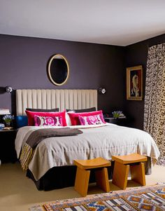 Dark purple bedroom, benjamin moore shadow