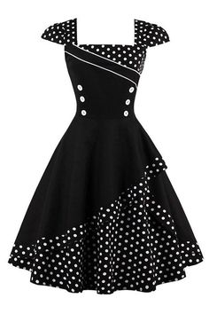For a classic retro look, go for our Atomic 1960's Polka Dot Cocktail Dress. Get it here: https://atomicjaneclothing.com/products/atomic-1960s-polka-dot-cocktail-dress