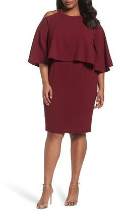 5b17dbe77936 Plus Size Women's Adrianna Papell Cold Shoulder Crepe Sheath Dress Mother  Of The Bride, Plus