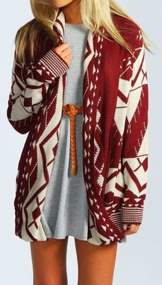 Over Sized Red and White Sweater with Light Grey Dress Click for more