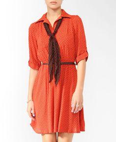 Zigzag Dress w/ Scarf (Tomato/Black). Forever 21. $24.90