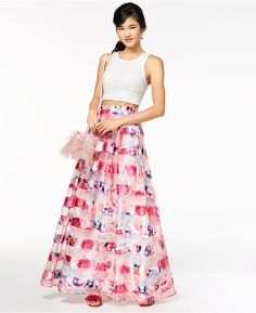 5f8b95631dd Sequin Hearts Juniors  Crochet Shadow-Striped 2-Pc. Gown
