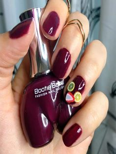 These nail colors are so funny and cruelty free! Sangria nails: Bootie Babe in Cushy Tushy with fruit art from Sally Beauty Supply Covegan Latest Nail Designs, Latest Nail Art, Nail Art Designs, Fruit Nail Art, Fruit Art, Bridal Nail Art, Nail Art Images, Sally Beauty, Vegan Beauty