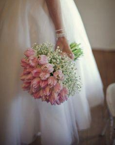 Pink Tulip & Ivory Gypsophila Bridal Bouquet // Laurel Weddings