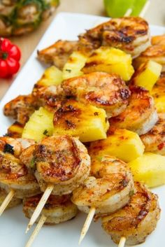 Grilled pineapple and shrimp skewers.