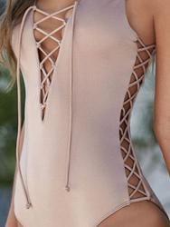 Chicnico Lace Up Solid Color Criss Cross One Piece Bikini