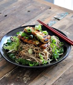 Soba with Ginger-Miso-Maple Syrup Dressing topped with Grilled Tofu. #food (or chicken...)
