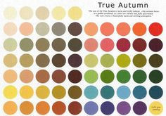True Autumn Palette.  Remember, palettes are a guide only...use your own judgement!  NB:  I cannot figure out the source for these amazing palettes.