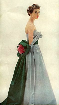 Blue and green gown- from Ladies' Home Journal, December 1952