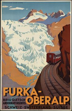 "this is an old/vintage tourism advertising for the ""Furka-Oberalp"" rail"