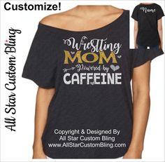 Wrestling Mom Powered By Caffeine Off Shoulder Shirt, Wrestling Mom Shirt, Wrestling Mom Dolman Shirt, Mom Wrestling Shirt, Custom Wrestling by AllStarCustomBling on Etsy