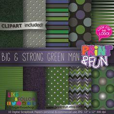 Hombre Verde Super Heroes Papel Digital Fondos verde morado Gris Negro chevron plateado para invitaciones fiestas imprimibles scrapbooking