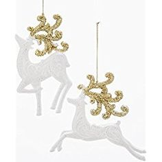Kurt Adler 2 Assorted 5 Inch Acrylic White With Gold Glitter Reindeer Christmas Ornaments