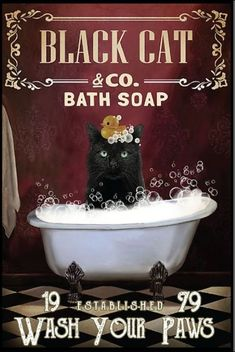 Red Bath Soap Black Cat shirts, apparel, posters are available at Ateefad Outfits Store. Crazy Cat Lady, Crazy Cats, Black Cat Art, Black Cats, Black Cat Painting, Cat Signs, Cat Posters, Here Kitty Kitty, Vintage Cat