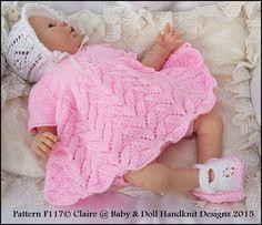 Flower Motif Dress Set for 15-20 inch doll/preemie /0-3m