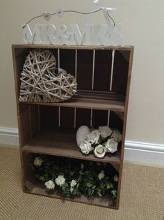 vintage style shabby chic wooden apple crate with 2 shelves handmade sturdy