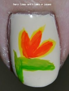 Partly Cloudy With a Chance of Lacquer: Twin Nails: Bird of Paradise