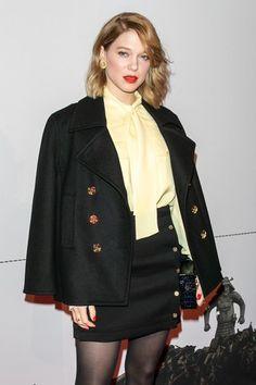 Léa Seydoux pairs a crimson lip with a matching manicure.