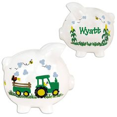 Personalized Tractor Piggy Bank for children Hand Painted White Pig Coin Green Tractors Farm Custom coin banks for kids - PIGG-whi-42N