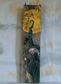 Raven Witch authentic barn wood hand painted 4 X 16 by SuzysSantas, $30.00