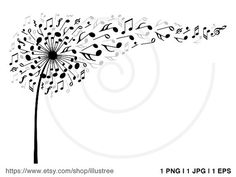 Music dandelion with flying musical notes music by Illustree