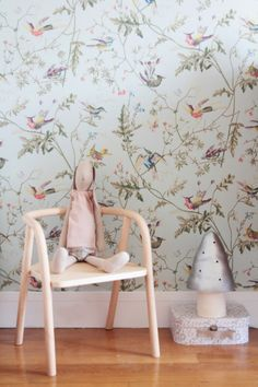 Fine Deco Chambre Vintage Romantique that you must know, You?re in good company if you?re looking for Deco Chambre Vintage Romantique Hummingbird Wallpaper, Kids Room Wallpaper, Light Blue Background, Cole And Son, Bedroom Vintage, Little Girl Rooms, Nursery Inspiration, Colorful Interiors, Kids Bedroom