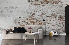 Billedresultat for brick wall wallpaper Brick Interior, Interior Walls, Modern Interior Design, Brick Wall Wallpaper, Distressed Walls, Exposed Brick Walls, Deco Design, Design Design, Home And Deco