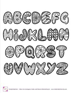 This printable alphabet comes with capital and small letters and a sheet of numbers. Print as many times as you'd like for signs, scrapbooking, planners, coloring sheets for kids and more! You will receive a 3 page PDF that is inches in size (letter Alphabet Doodle, Doodle Art Name, Doodle Art Letters, Doodle Art Journals, Alphabet Coloring, Printable Alphabet, Alphabet Fonts, Graffiti Alphabet, Alphabet Letters