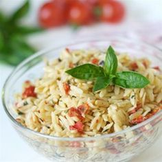 Sun-Dried Tomato Basil Orzo Allrecipes.com  Would have been good with Angel Hair instead of Orzo too