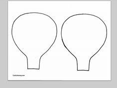 Download een PDF van de sjabloon van de hete lucht ballon omtrekken (twee op een pagina).
