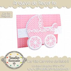 Cartão Carrinho de Bebê II, cartão, carrinho, bebê, baby, stoller, pink, chá de bebê, baby shower,  arquivo de recorte, corte regular, regular cut, svg, dxf, png, Studio Ilustrado, Silhouette, cutting file, cutting, cricut, scan n cut.