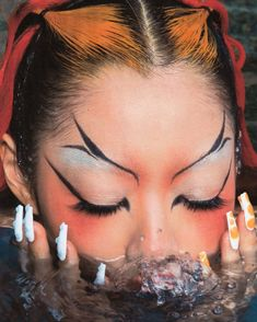 """rina sawayama shot by erika kamano make up: ana takahashi nails: sojinails hair: styling: ella lucia"" Makeup Inspo, Makeup Art, Makeup Inspiration, Beauty Makeup, Hair Makeup, Cute Makeup, Makeup Looks, Photo Trop Belle, 90s Grunge Hair"