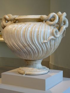 Marble strigilated vase with snake handles Roman Antonine period 2nd half of the 2nd century CE