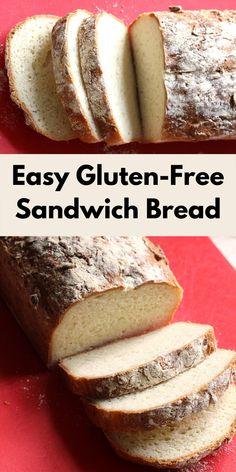 Gluten Free Sandwich Bread Recipe, Gluten Free Pita Bread, Gluten Free Sandwiches, Gluten Free Pastry, Easy Bread Recipes, Gf Recipes, Gluten Free Recipes For Bread, Gluten Free Homemade Bread, Best Paleo Bread Recipe